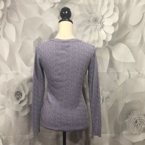 LOFT Sweaters - LOFT Purple Cable Knit V-Neck Sweater S